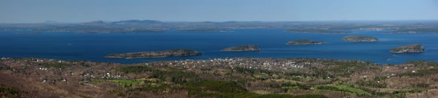 Frenchman Bay and Porcupine Islands around the town of Bar Harbor viewed from Cadillac Mountain on Mount Desert Island