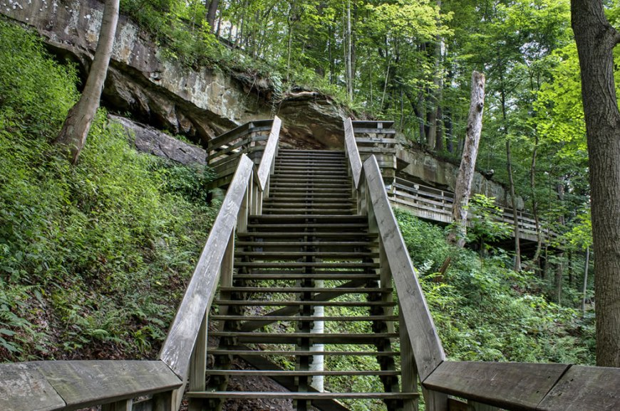 Hiking the Stairway to the Brandywine Falls at Cuyahoga Valley National Park