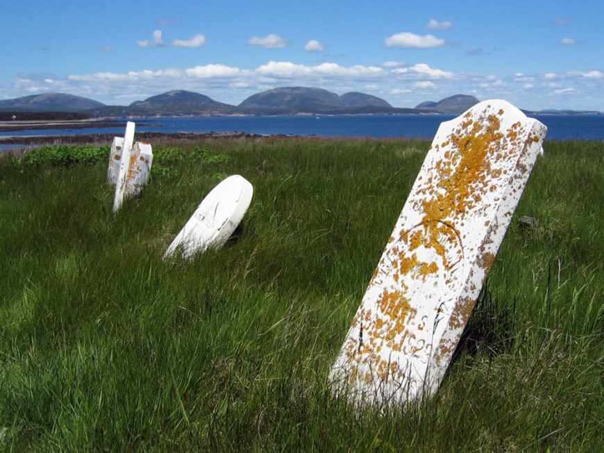 Tombstones on Baker Island, yet another part of Acadia