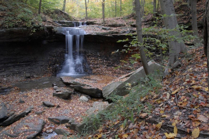 Two tiers of Blue Hen Falls at Cuyahoga Valley National Park