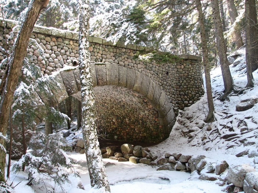 Winter Cobblestone Bridge at Acadia