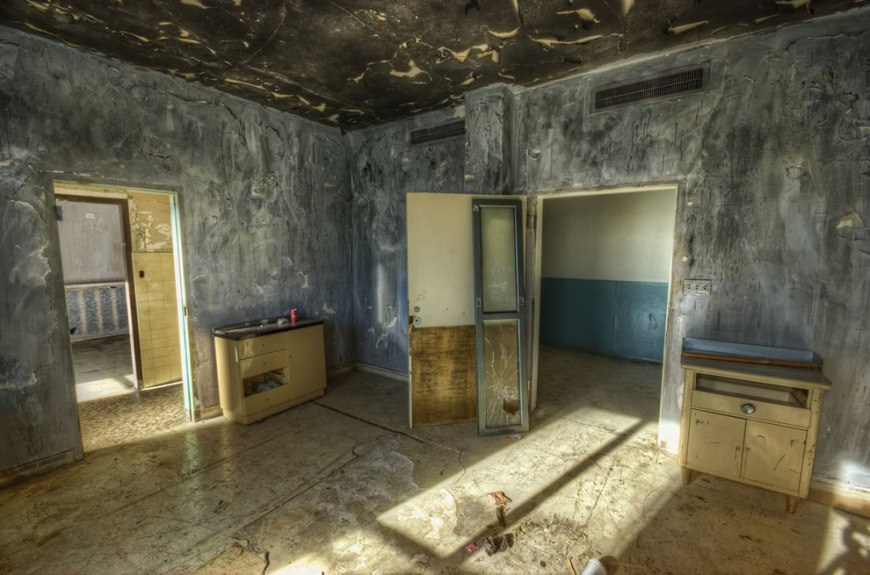 Abandoned, haunted Linda Vista Community Hospital, future bedroom for senior citizen