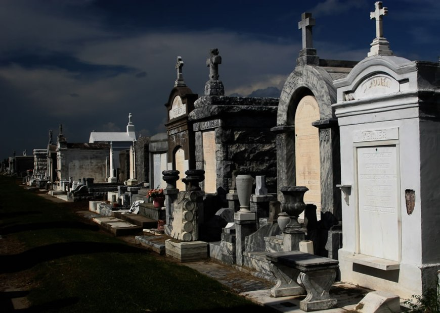 From a cemetery in New Orleans where Interview with the Vampire was filmed