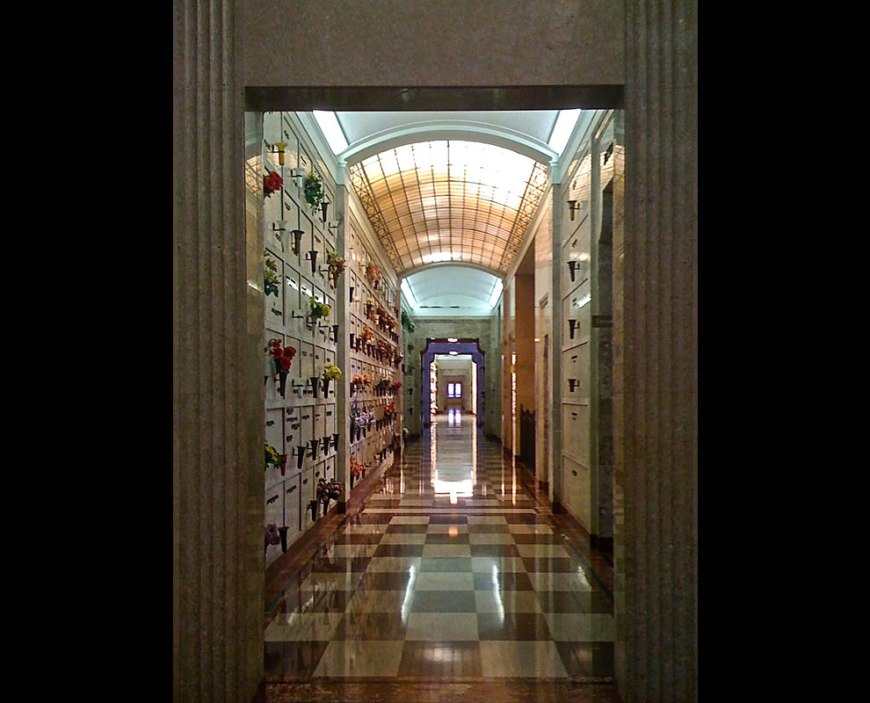 Long Goodbye leads to the Doorway to Heaven - long hallway in Texas mausoleum