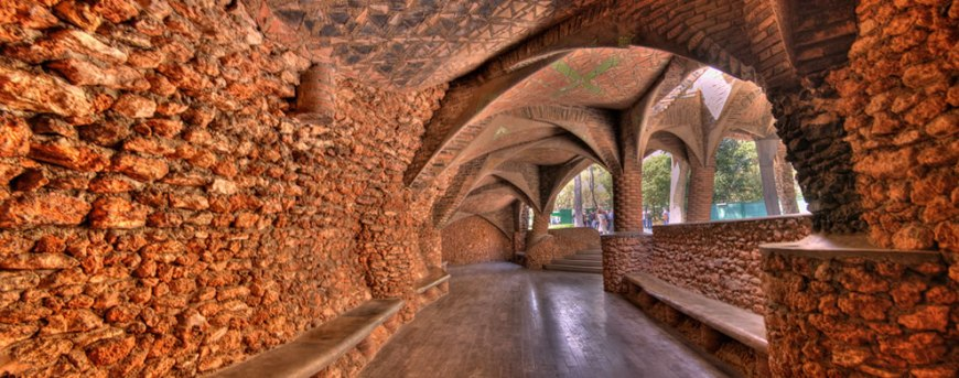 Porch next to the crypt of the Colonia Guell, Gaudi's masterpiece