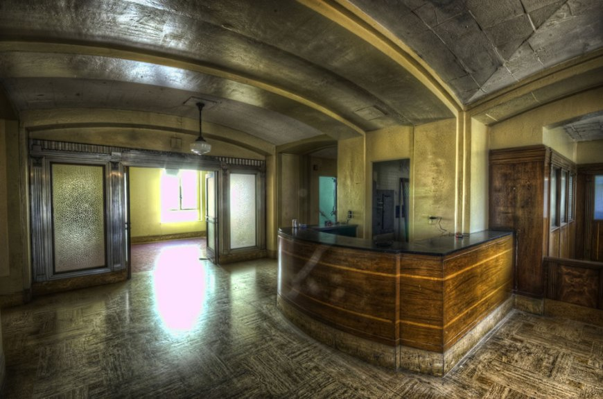 The haunted Linda Vista hospital reception area in abandoned LA