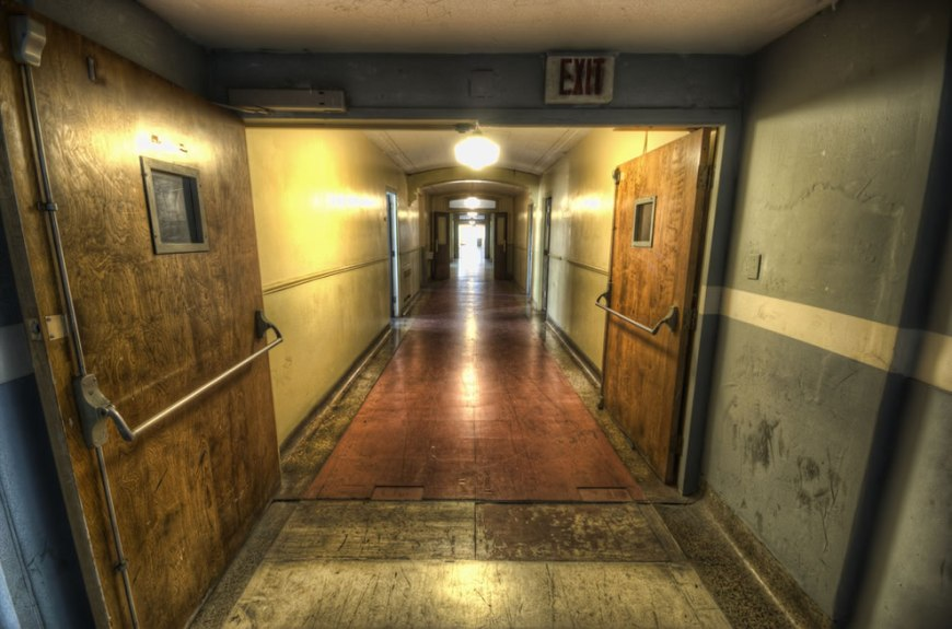 This way please down another abandoned haunted hallway for Haunted house hallway ideas
