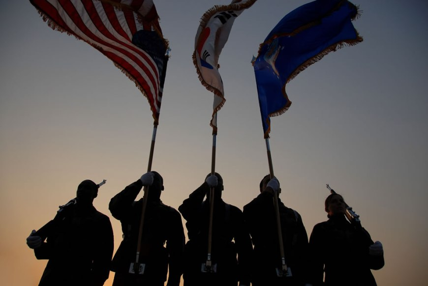U.S. Air Force Airmen perform honor duties