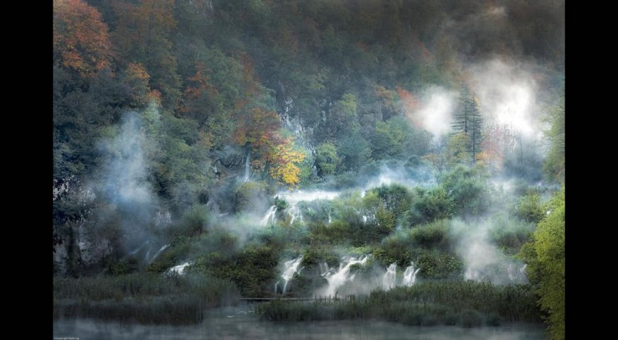 Fog and fall at Plitvice Lakes National Park, Croatia