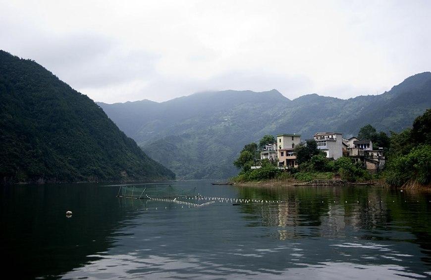 Qiandao Hu fishing village as seen while touring Thousand Island Lake