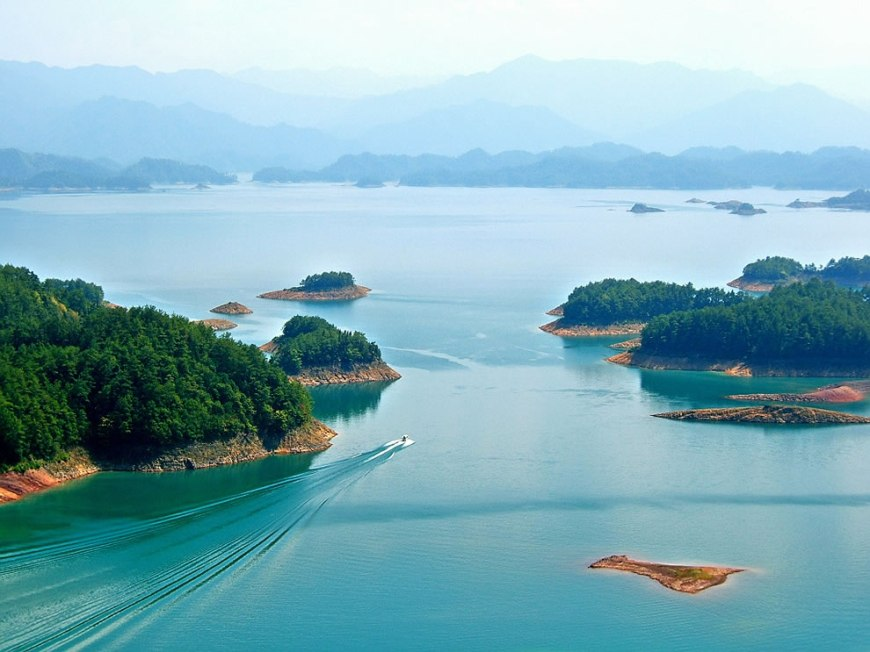 Thousand Island Lake is a tourist hotspot with 'theme' islands including Bird Island, Snake Island, Monkey Island, Lock Island and Island to Remind You of Your Childhood