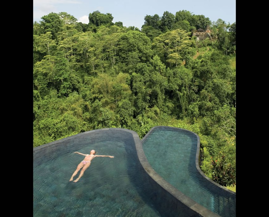 hanging infinity pools in bali at ubud hotel resort pools