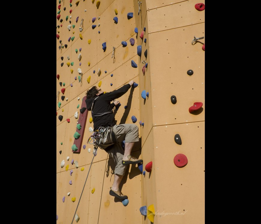 Climber at Klimcentrum Bjoeks,Bjoeks