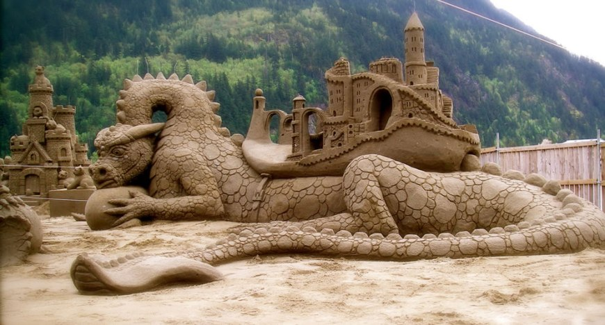 Dragon Dwellers - Amazin' Walter and William Lloyds entry in the Tournament of Sand Sculpting Champions at Harrison Hot Springs, British Colombia