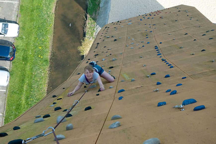 Hannah J-L tackling the slabby side of Excalibur at the Bjoeks wall in Groningen, the Netherlands
