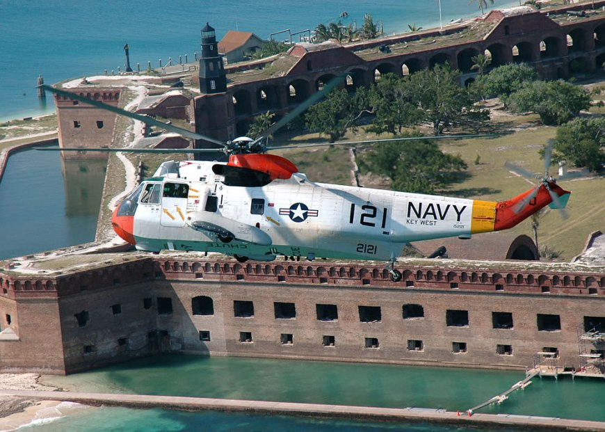 NAS Key West's UH-3H Sea King helicopter flies near Fort Jefferson in the Dry Tortugas National Park