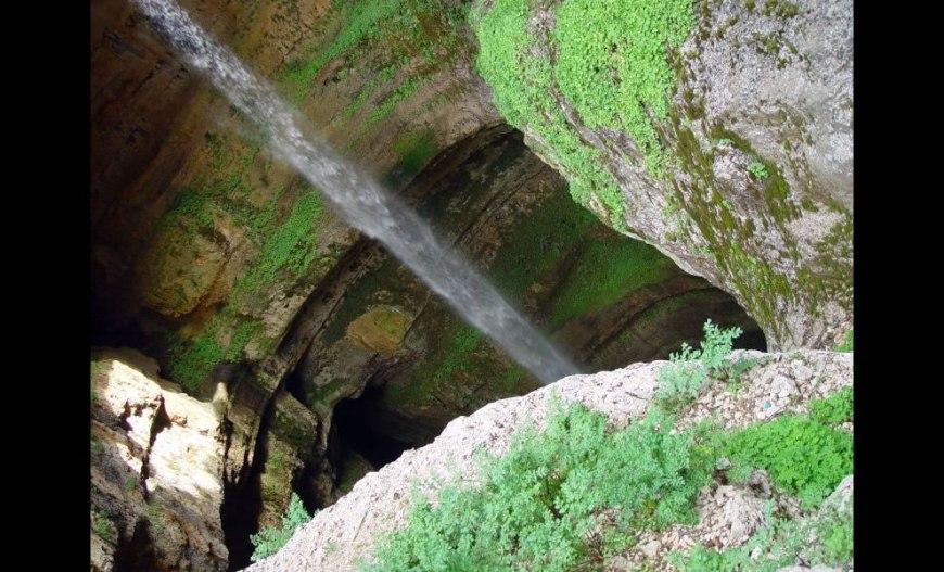 Waterfall into Tannourine sinkhole, Lebanon