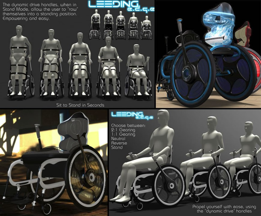 The Leeding E.D.G.E. stand up wheelchair by designer Tim Leeding wheelchair design concepts