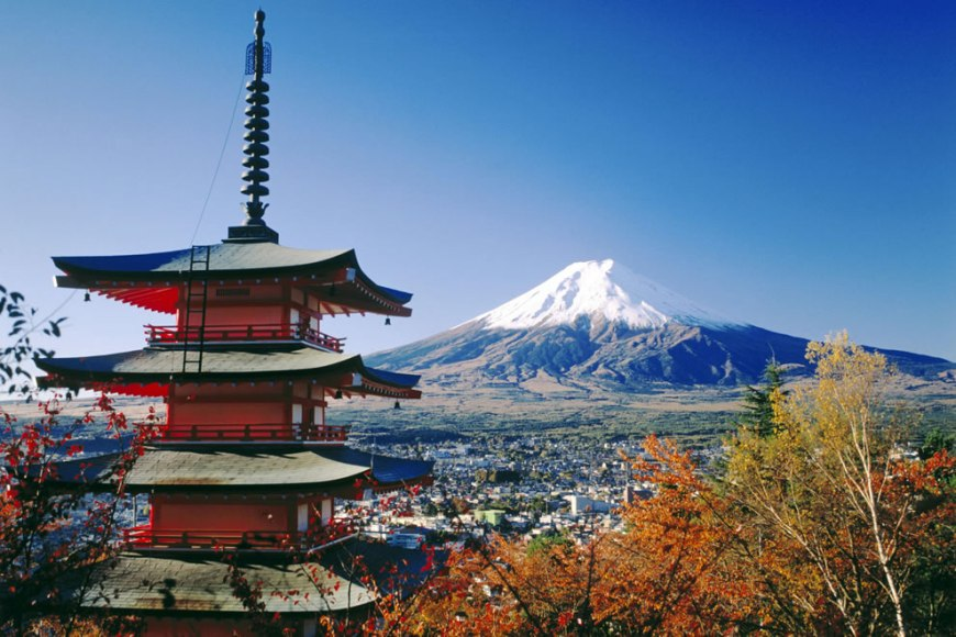 Japan Fujiyoshida and Mount Fuji