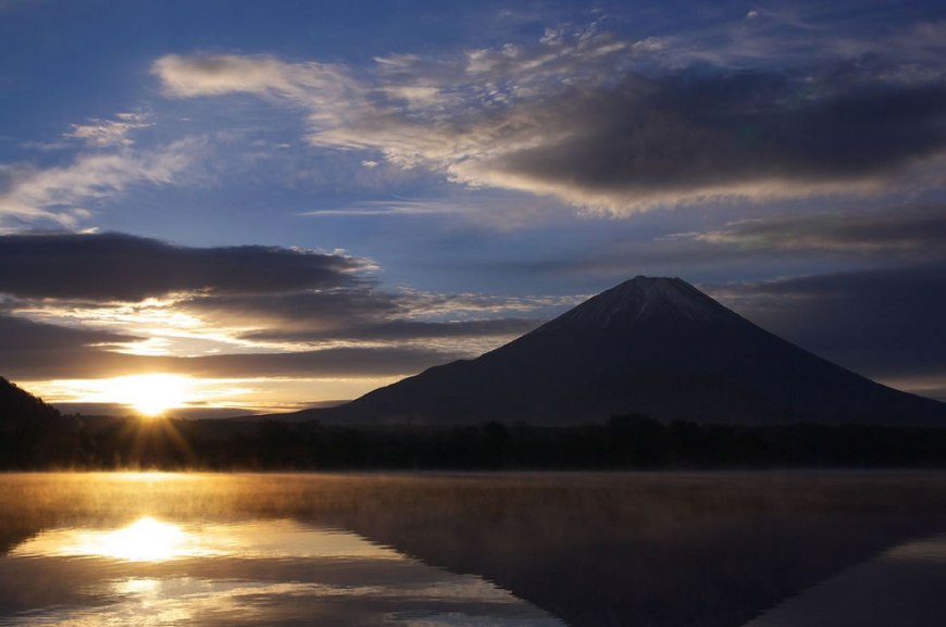 Mt.Fuji and Lake Shojiko at sunrise, of the the Five Fuji Lakes