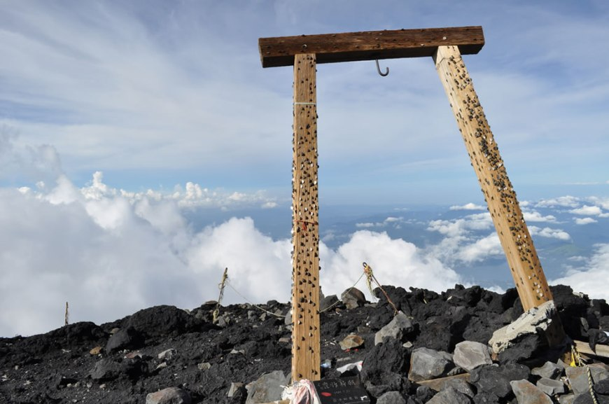 Top of Mount Fuji, Torii embedded with coins